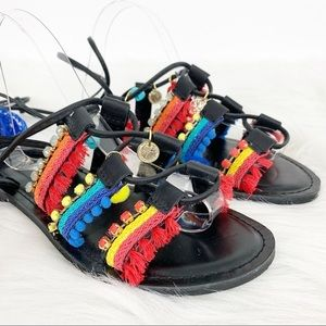 Express Shoes - Express Rainbow Festival Lace Up Sandals